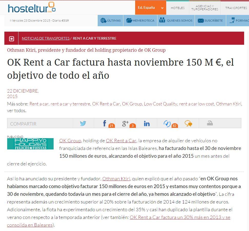 OK Rent a Car factura hasta noviembre 150M €, el objetivo de todo ...