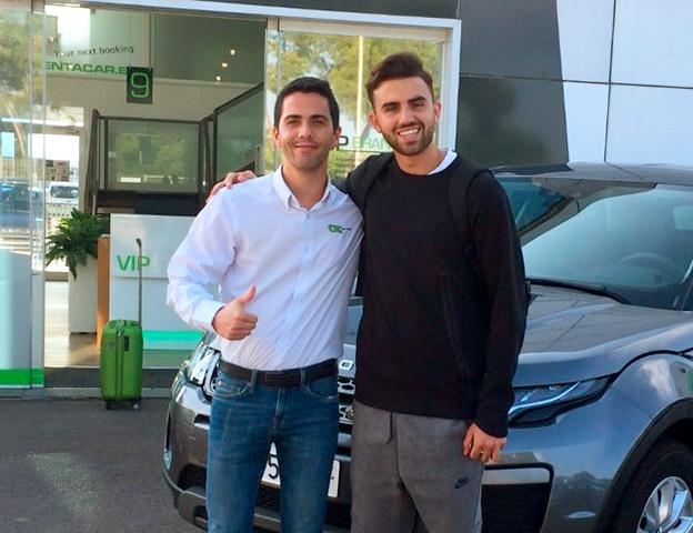 Con Borja Mayoral, jugador del Madrid